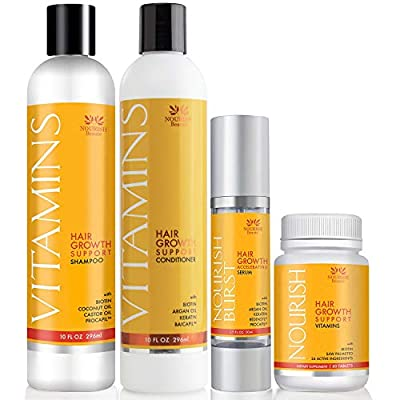 Vitamins Hair Growth Treatment Products - Hair Loss Treatment System to Stop Thinning Hair and Promote Regrowth ? Includes Shampoo, Conditioner, Vitamins and Hair Growth Accelerating Serum