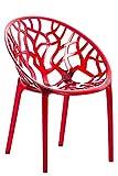 CLP Design-Gartenstuhl Crystal Kunststoff I Wetterbeständiger Stapelstuhl I Max. Belastbarkeit: 160 Kg I In Vielen Farben, Farbe:rot