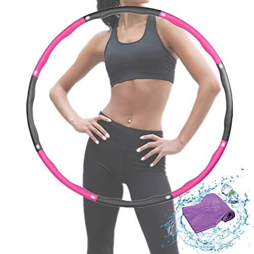 Rwest X Fitness Hula Hoop, Sport für Erwachsene und Kinder hulahoop,6-8 Teiliger Abnehmbarer Hula-Hoop-Reifen Einstellbare Breite 48-88cm für Fitness/Training/Bauchformung (1.2kg) (Lila grau 02)