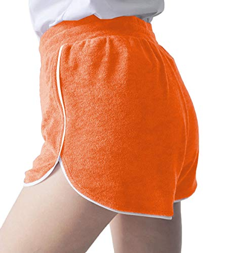Ms SYJ Women's Terry Shorts Casual Lounge Short Pants Running Workout Hot Pants(Orange New,6-8)