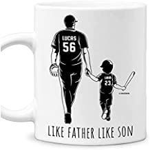 Personalized Like Father Like Son Baseball Dad Mugs Funny Coffee Mug Cup 11oz 15oz Birthday Christmas Father's Day Gifts From Son With Custom Name For Fathers Daddy Papa Abuelo Dads Gifts (Baseball)