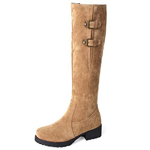 Botas Altas Mujer Zapatos Planos Otoño Invierno Decoración De Hebilla De Cinturón Cremallera Lateral Felpa Calentar Botas De Nieve,Amarillo,38