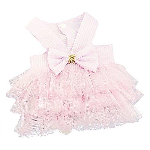 Hawkimin Schön Haustier Blase Rock, Streifen Bogenknoten Spitzenkleid Hundekleid Prinzessin Kleider Tüll Rock Kleidung für Hund