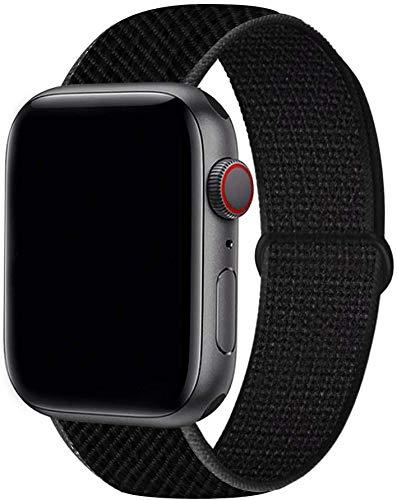 Tervoka Cinturino Compatibile con Apple Watch Cinturino 40mm 38mm, Sport Intrecciato Loop Tessuto Regolabile Ricambio Cinturino per iWatch Series 6 5 4 3 2 1 SE, Nero Scuro