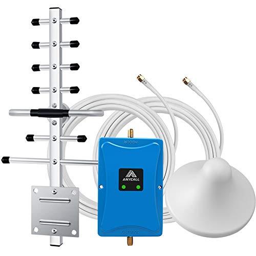 ANYCALL LTE gsm Amplificador de Señal 2600MHz(Banda 7) 900MHz(Banda 8) Celular Repetidor Llamadas de Voz y Datos 4G 3G con Antena de Techo y Yagi Direccional para Oficina/Casa