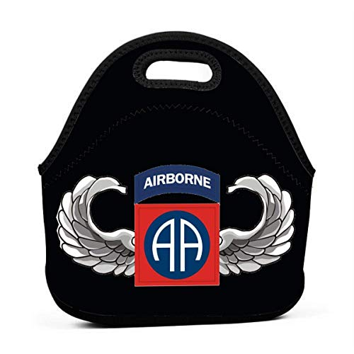 Bolsa de almuerzo con aislamiento de neopreno de lujo con aislamiento extra grueso con bolsa de almuerzo con cremallera resistente, S Army 82nd Airborne Jump Wings