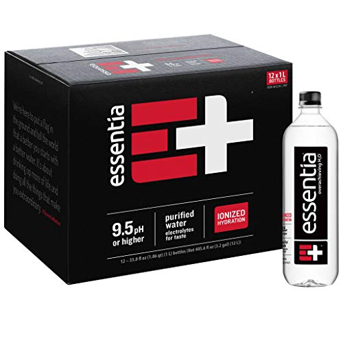 Essentia Water; Twenty Four (24) 1-Liter Bottles; Ionized Alkaline Bottled Water; Electrolytes for Taste; Better Rehydration; pH 9.5 or Higher; Pure Drinking Water; For the Doers, the Overachievers