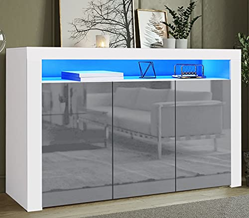 Led Sideboard Cabinet With RGB Led Lights +Remote For Living Room Bedroom, 155cm 3 Door & 6 Cube Storage Cupboard Display Cabinet Tv Unit, Matt Body & Front Grey High Gloss Doors Sideboards Furniture