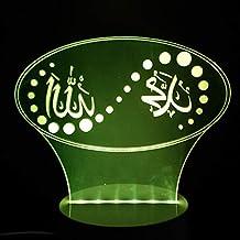 Nfudishpu 3D Nachtlicht, LED Stimmung LED Islam Lampe Gott Allah segne Koran Arabisch Neben Tischlampe 7 Farben Auto Changing Touch Switch Schreibtisch Dekoration Lampen, Neujahrsgeschenke