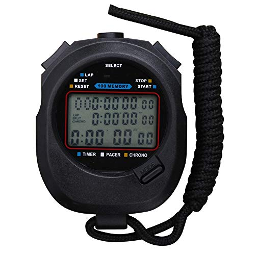 Cronómetro digital deportivo, cronómetro, temporizador doble, tres filas, multifuncional, pantalla grande, para natación, correr, fútbol, fútbol, fútbol, correr, natación, fitness, color negro