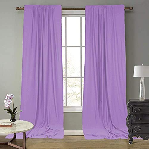 SFN Drapes Curtains Panels,Lavender Purple Curtains polyest Crinkled Material Design Backdrop,2 Packs 4.5ftX10ft Home Party Decoration Supplies