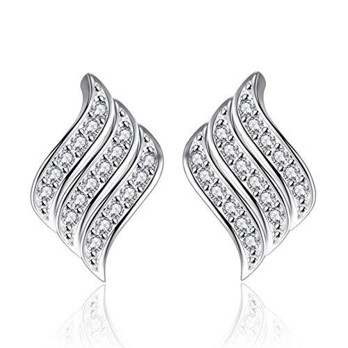 Joyería elegante creativa 925 pendientes de tuerca de cristal con alas en ángulo de plata esterlina para mujeres y niñas joyería