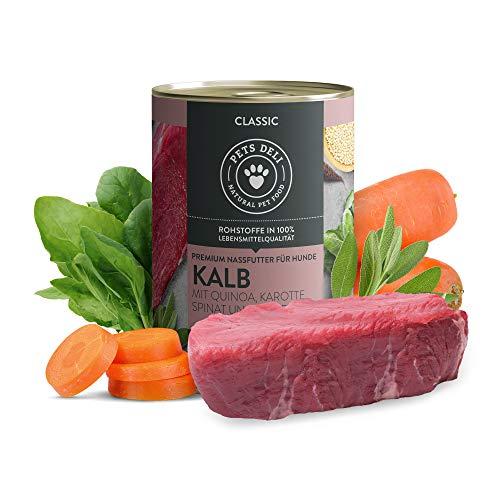 Nassfutter für Hunde | Kalb mit Quinoa, Karotte, Spinat & Salbei | 2,4 kg - 6er-Pack