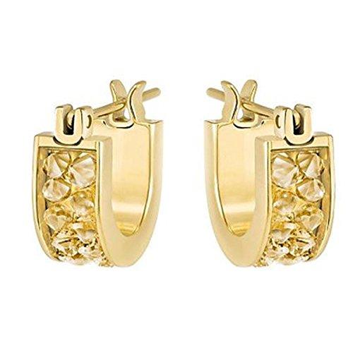 Swarovski Damen-Creolen Kristall gold 1 cm - 5273880