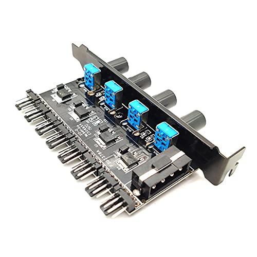 SJZERO 3 Pines / 4 Pines concentrador de Ventilador de refrigeración Fuente de alimentación 4D SATA regulador de Controlador de Velocidad de Perilla de 3/8 vías con luz indicadora LED