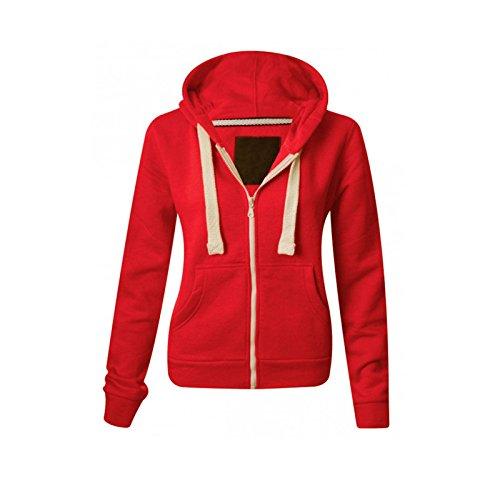 Sweat-shirt à capuche molletonnée, uni à fermeture Éclair et à manches longues, avec poches avant, sweat-shirt doux, extensible et confortable pour femmes, grandes tailles, de la taille S à XXXXXXXL (34 à 60) - Rouge - Small