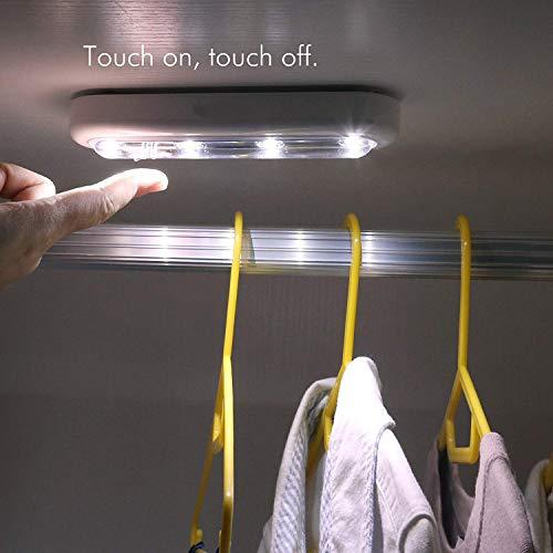 Smart 4led Touch Sensor Licht Slaapkamer Make-up Spiegelkast Kunststof Batterij Nacht Licht Europese Creatieve Verlichting