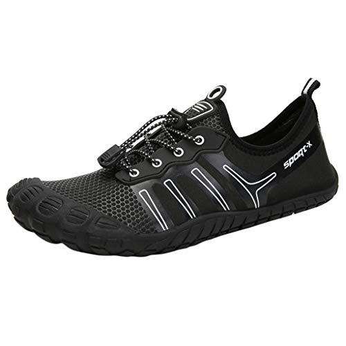 Man Hiking Shoes Beach Swimming Shoes Water Shoes Barefoot Quick Dry Aqua Shoes Christmas Best Gift (Black, 6)