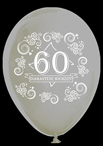 Unbekannt 10 transparente Luftballons 60 Diamantene Hochzeit, ca. 30 cm