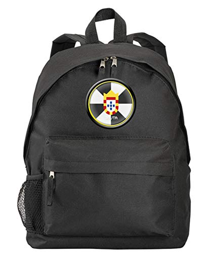 Mochila negra Ceuta con bandera y escudo sintético con bolsillos con cremallera y tirantes