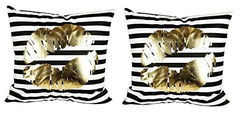 Dos fundas de almohada cojín de sofá de 40x40 cm - rayas - cojín decorativo cuadrado - estampado dorado - lino - dormitorio - beso casero - boca - idea de regalo original - color blanco y negro