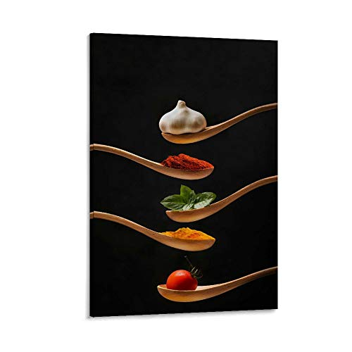 xingqiwu Wooden Spoons Filled with Exquisite Kitchen Seasonings Poster-food Poster-kitchen Poster Canvas Art Poster and Wall Art Picture Print Modern Family bedroom Decor Posters 16x24inch(40x60cm)