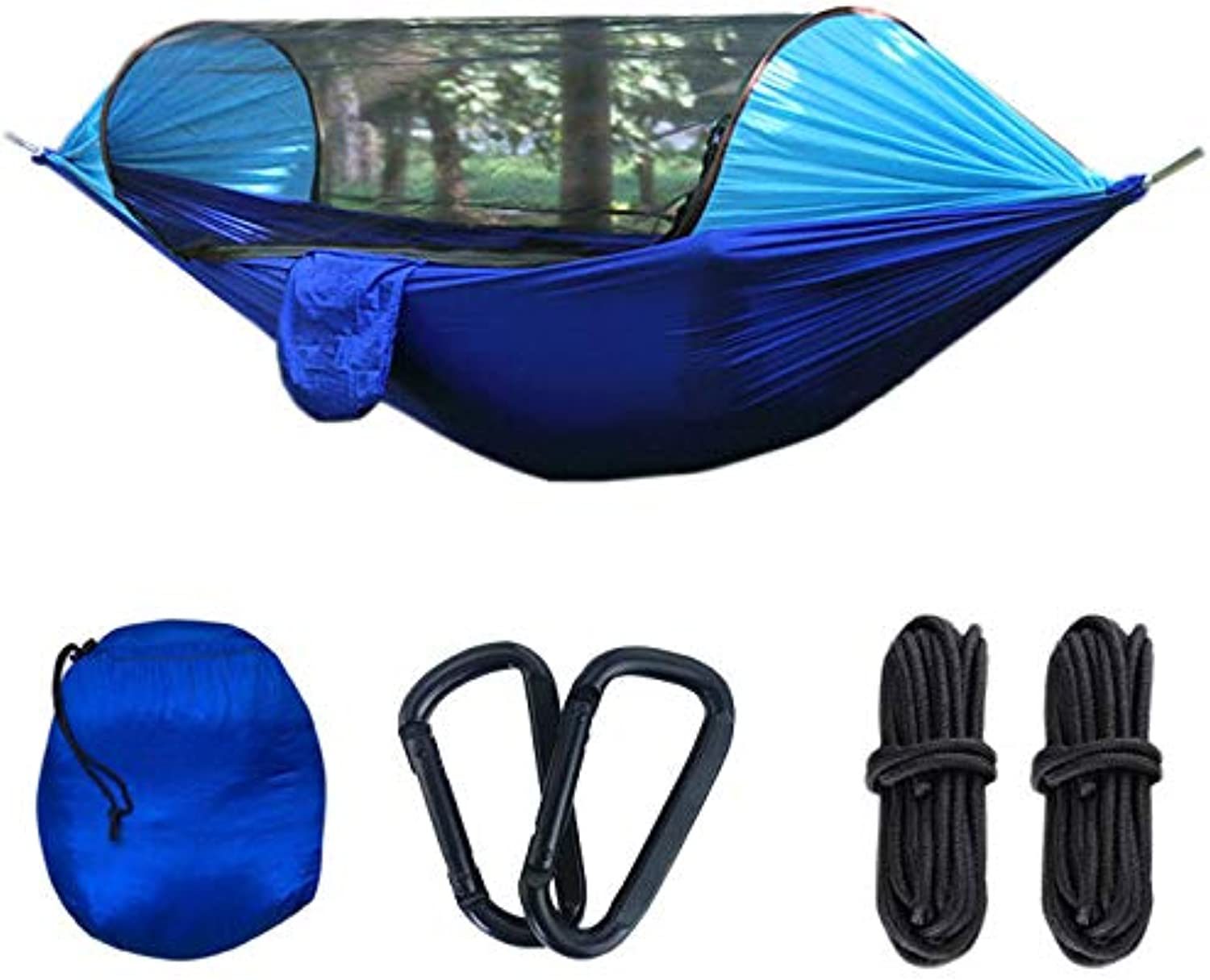 Camping Hammock with Mosquito Net, Tree Straps and Carabiners, Portable Parachute Nylon Hammock with But Net, for Outdoor Backpacking Trip, Hiking and Traveling