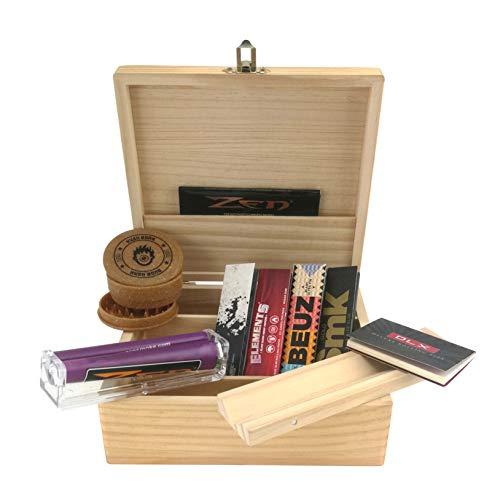 Caja XL para fumadores + Accesorios (enrollador cónico, papel y filtros)