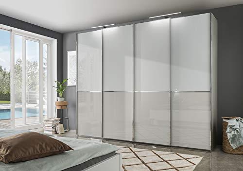 Wiemann Shanghai 2 Schwebetürenschrank, Holz, weiß/grau, 400x216x67 cm
