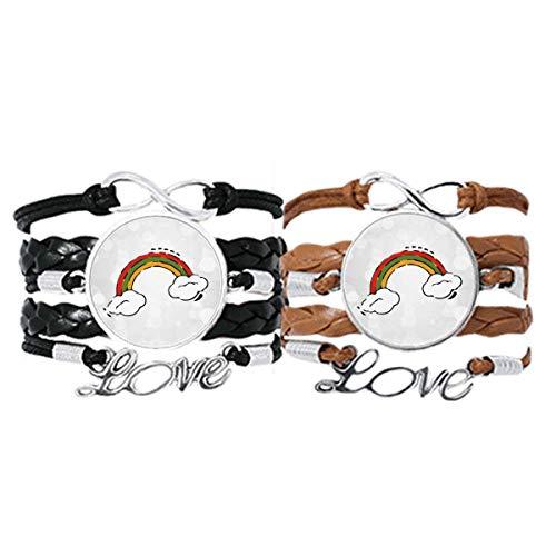 DIYthinker - Pulsera de piel con diseño de arcoíris y viento, diseño de arcoíris