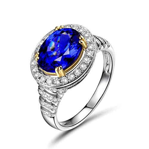 Beydodo Anillos de Boda Mujer,Anillos Mujer Oro Amarillo/Oro Blanco 18K Plata Azul Oval Tanzanita Azul 2.72ct Diamante 0.53ct Talla 25(Circuferencia 65MM)