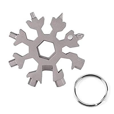 18-in-1 Snowflake Multi Tool,Stainless Steel Snowflakes Multi-Tool, Incredible Tool Gifts for Men Christmas, Bottle Opener/Flat Phillips Screwdriver Kit/Wrench(Standard, Stainless Steel)