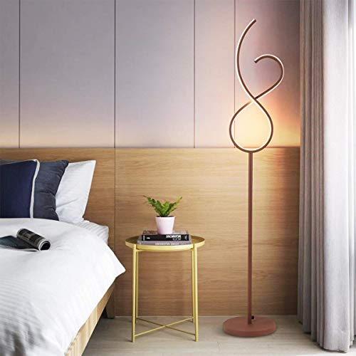 FWZJ Lámpara de pie Regulable Lámpara de pie en Espiral LED 20W Luz Ajustable Luz de Piso Estilo de diseño único Creativo Moderno Control Remoto y Base de Metal (Color: H145cm / & Os
