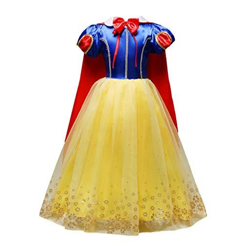 Lito Angels Fille Déguisement Princesse Blanche Neige Robe Anniversaire Fête Halloween Noël Partie Carnaval Cosplay Manches Bouffantes avec Cap Enfant de 3-4 Ans 231