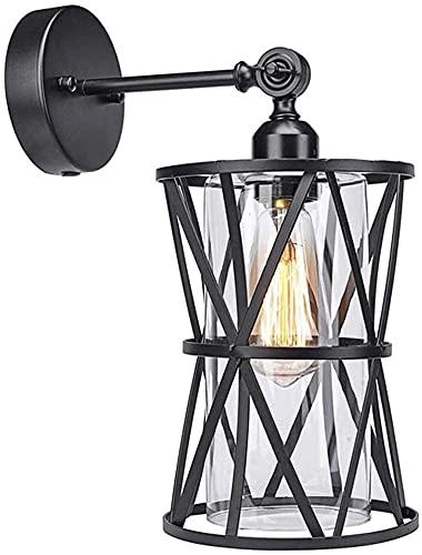 Sconce da parete vintage, lampada da parete rotabili industriale con ombra di vetro trasparente, E26 / E27. Lampade da parete in metallo nero per sala da pranzo camera da letto a foyer corridoio cucin