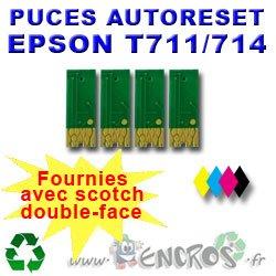 Auto-Reset - Juego de 4 chips para Epson T0711 a T0714, color negro