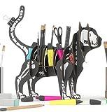 SKELETT KATZE 3D Puzzle Organizer aus recyceltem Karton. Stand oder Regal in Form einer Katze im Kostüm für Halloween. Schreibtischidee, Schmuckhalter, Stifte oder Pflanzen, Make-up-Veranstalter