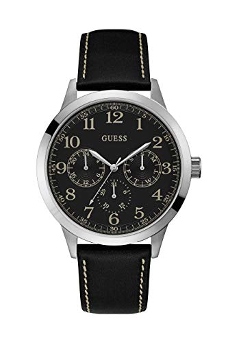 Guess Watches Men's Leather -Silver Watch
