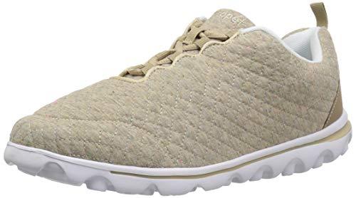 Propet Womens TravelActiv Woven Fashion Sneaker, Beige Quilt, 8.5 X-Wide