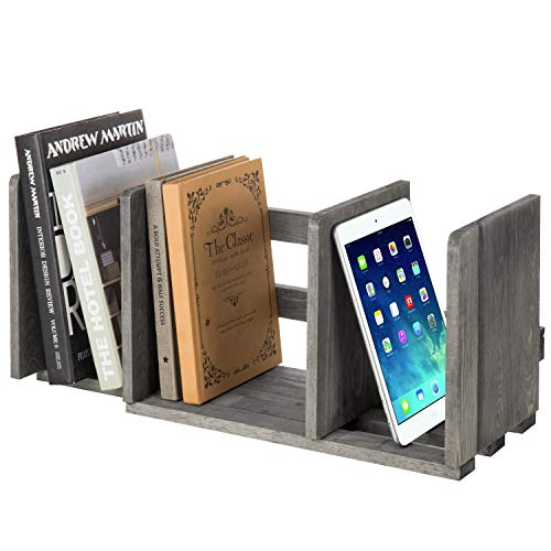 MyGift Expandable Gray Wood Desktop Bookshelf Organizer Rack/Adjustable Display Shelf