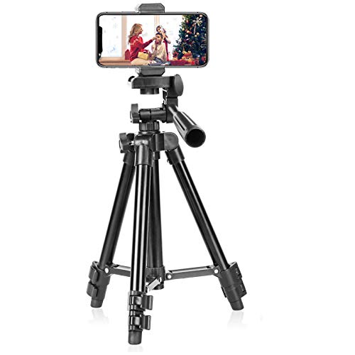 Mini Tripod for iPhone,Portable Table Tripod with Cellphone Holder and Wireless Remote for Live Broadcast and Selfie, Compatible with iPhone/Android