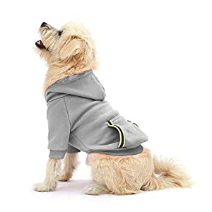 Dog Hoodie Fleece Sweatshirt for Small Medium Large Extra Small XL Dogs Charcoal Gray Pink Red Purple with Harness Hole and Reflective Stripe Zipper Pullover Dogs Hooded Warm Jacket (S, Gray)