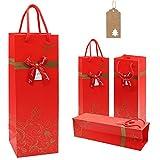 Sacchetti di carta da regalo per vino, 4 pezzi, colore rosso/nero, con maniglia e etichette per matrimoni, vacanze, amici, sacchetti per bottiglie di vino, decorazioni per feste in casa, colore: rosso