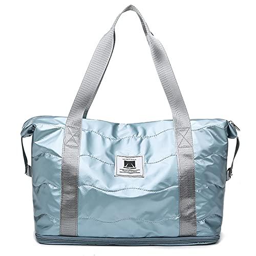 Borsa da palestra asciutta bagnata yoga borsone da viaggio per le donne fitness swimming handbag formazione sportiva blosa impermeabile bagaglio pieghevole (Color : Blue)