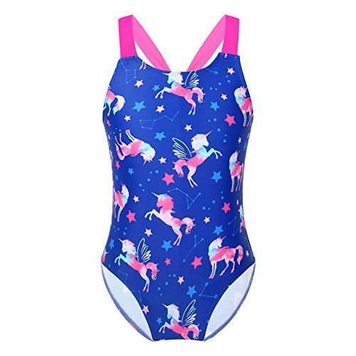 Kaerm Kinder Mädchen Sommer Schwimmen Einteilige Badeanzüge Sport Bademode Hawaiian Beach Badeanzug Mit Pferde und Sterne Muster Motiv 4-12 Jahre Saphir 134-140