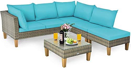 YRRA L-formad uteplats möbel set 4 delar alla väder korg sektionssoffa set med akacia träben och glasskiva soffbord lämplig (turkos) – turkos