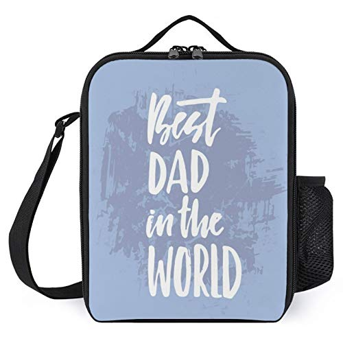 Portable Insulated Lunch Bag,Leakproof Reusable Lunch Box,Father's Day Motto Best Dad in The World Handbag with Shoulder Strap,Lunch Container for Adults Kid for Travel Picnic School Office