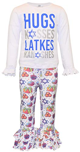 Unique Baby Girls Hugs Kisses Latkes Knishes Hanukkah Outfit (2t, Latkes)