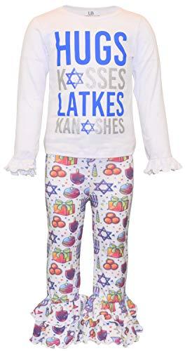 Unique Baby Girls Hugs Kisses Latkes Knishes Hanukkah Outfit (5, Latkes)