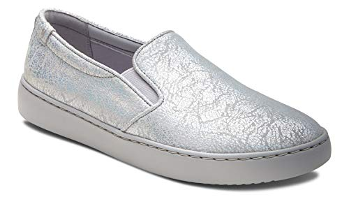Vionic Women's Pro Mahoney Avery Slip-on - Ladies Water Resistant and Slip Resistant Service Shoes with Concealed Orthotic Arch Support Silver Metallic 10 Medium